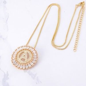 initial letter necklace in gold